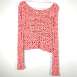 Free People | Crop Crochet Pink Sweater Sz XS